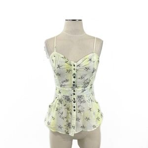 Free People- Yellow Floral Button Cami Size 6
